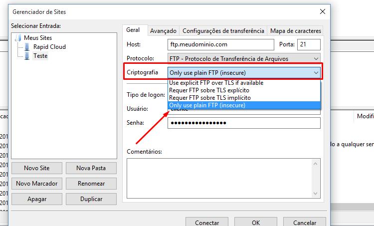 Criptografia da conexão TLS