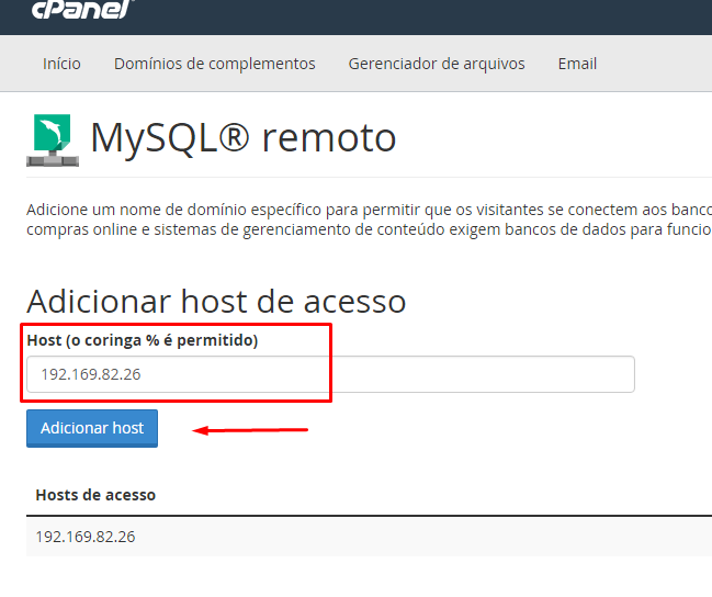 Adicionar IP MySQL Remoto